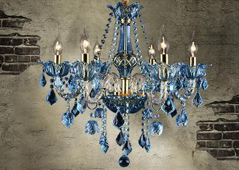$578.59- Blue Crystal Chandelier Creative Candle Crystal Lighting Living Room Restaurant Bar E14 Candle Lampe Lustre Light Fixtures