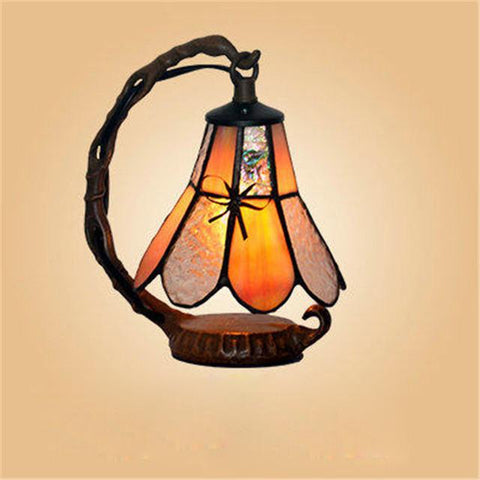 $115.35- Glass Art Lamp European Style Romantic Stained Glass Table Lamp Restaurant Caffee Bar Living Room Project Light Fixtures