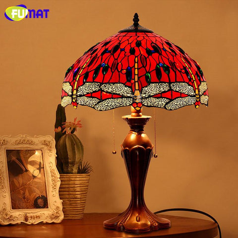 Glass Art Table Lamp Antique Decor Red Dragonfly Living Room Led Stained Glass Lamp Studio Bedside Stand Light Fixtures