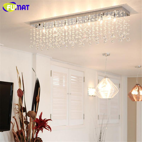 $232.90- K9 Crystal Chandelier Modern Rectangle Led G9 Art Deco Suspension Lighting Hotel Living Room Kitchen Dinning Lustre Lamps