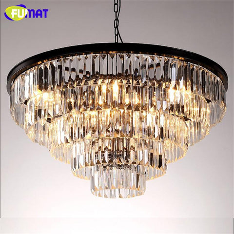 K9 Crystal Chandelier Loft Antique Crystal Suspension Lamp Amber/Smoky Gray/Clear Indoor Lighting Led Light Fixtures