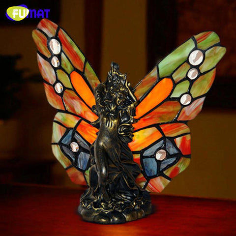 $158.36- Stained Glass Butterflies Table Lamp Creative Art Desk Lamp Living Room Bedside Light Fixtures Table Lights