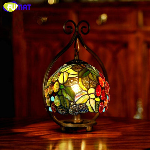 Stained Glass Lamp Bedside Small Table Lamp Rose Grape Glass Art Shade Desk Lamp Hotel Bar Living Room Gift Light Fixtures