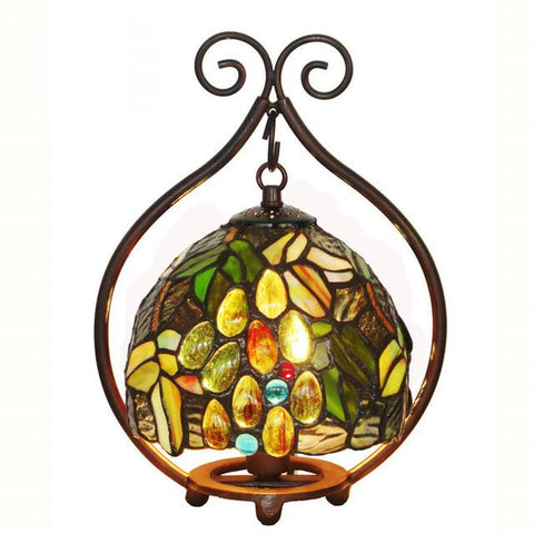 $323.33- Stained Glass Lamp Bedside Small Table Lamp Rose Grape Glass Art Shade Desk Lamp Hotel Bar Living Room Gift Light Fixtures