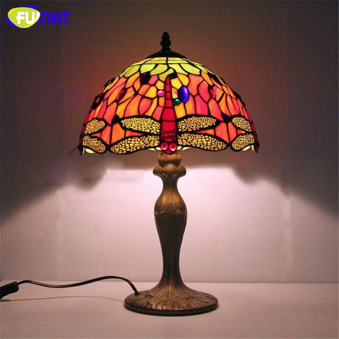 Stained Glass Table Lamps Round Colored Table Lamp Bedside Led Dragonfly Lampshade For Living Room Bed Room Table Lights