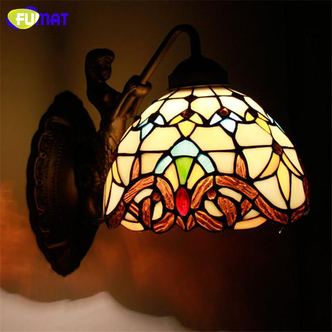 $179.10- Wall Light Mermaid Body Stained Glass Shade Lamp Corridor Bar Restaurant Hotel Lights Mirror Front Light Wall Sconce