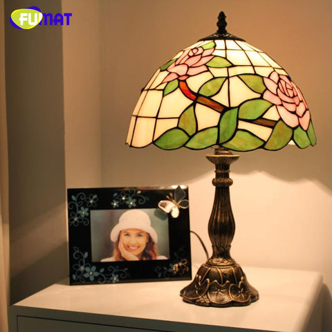 Stained Glass Table Lamp Pink /Blue Roses Glass Art Lamp European Desk Lamp Abajur De Mesa Bedside Light Fixtures