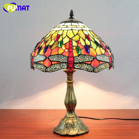 Stained Glass Lamp Vintage Style Classic Dragonfly Table Lamp Living Room Bedside Hotel Wedding Lamp Decor Light Fixtures