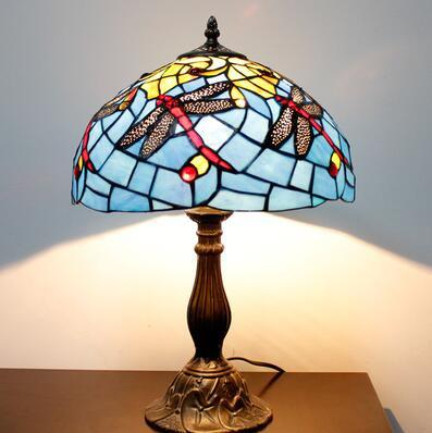 $269.15- Stained Glass Lamp Vintage Style Classic Dragonfly Table Lamp Living Room Bedside Hotel Wedding Lamp Decor Light Fixtures