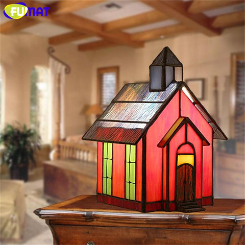 $97.75- Glass Table Lamp Small Stained Glass Lamp Creative Personality Art Desk Lamp Bedroom Bedside Decor Light Fixtures