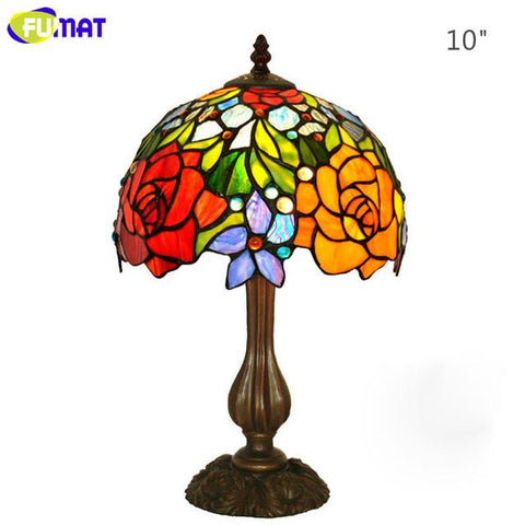 $330.17- Glass Art Table Lamp European Style Rose Stained Glass Lamp Living Room Hotel Bedside Table Lights Wedding Gift Lamp