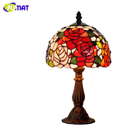 Stained Glass Table Lamp Flower & Grapes Glass Art Shade For Bedside Bar Living Room Small Desk Lamp Creative Table Lights