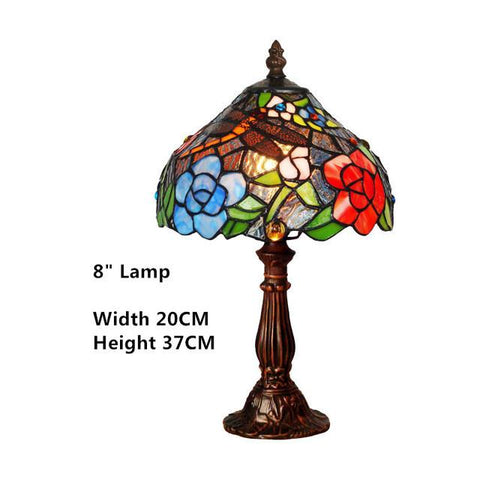 $359.40- Stained Glass Table Lamp Flower & Grapes Glass Art Shade For Bedside Bar Living Room Small Desk Lamp Creative Table Lights