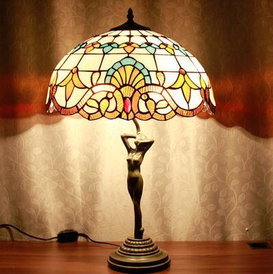 $313.38- Stained Glass Table Lamp Beauty Base Glass Lampshade Lampe Living Room Hotel Book Store Bar Decor Standing Light Fixtures