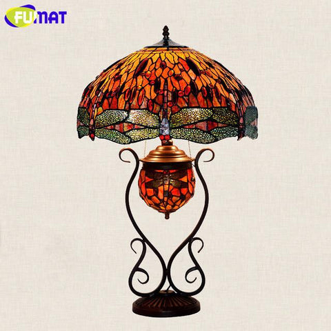 Glass Table Lamp European Style Classic Garden Rose/Grape/Dragonfly Stained Glass Bedside Lamp Living Room Hotel Lights