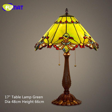 $312.53- Stained Table Lamp Baroque European Style Bedside Lamp Glass Shade Vintage Hotel Bar Living Room Bedside Light Fixtures
