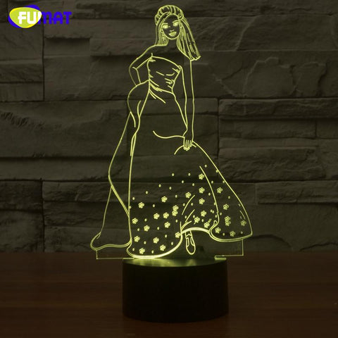 $41.49- 3D Lamp Beauty Night Light Bedside Lights Table Lampara W/ Changeable Ancient Beauty Night Light Kids Gift