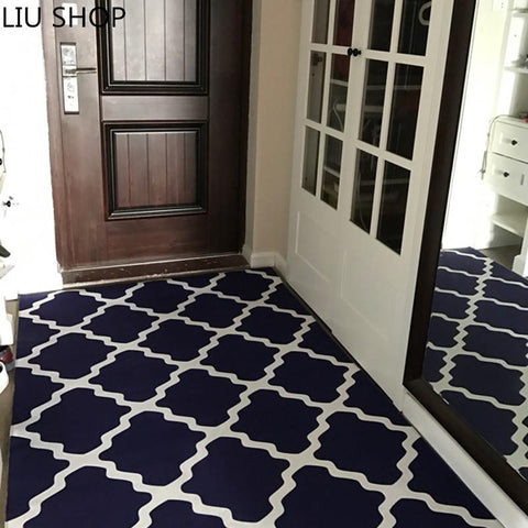 $33.26- Liu Nordic Plaid Carpet Living Room Hallway Coffee Table Bedroom Entrance Mat Bathroom Rectangle Rug Customized