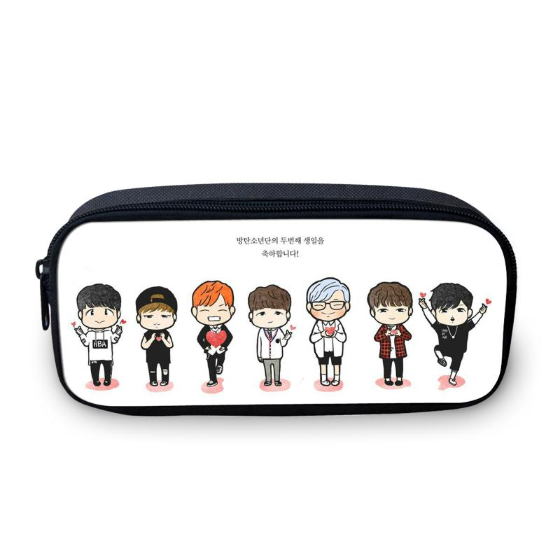 $9.03- 2016 South Korean Design Bts Cartoon Pencil Bag Girl Fans The Best Gift 3D Picture Students Stationery Bag Girl'S MakeUp Bag