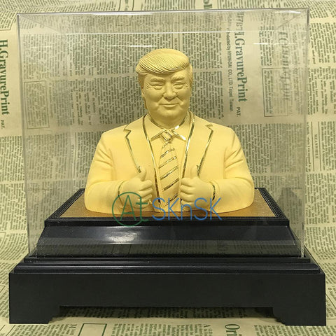 $138.96- 1Pcs Dhl High Quality Yellow Color Gold Plated Donald Trump Figure Metal Sculpture Statue W/ Box Souvenir Gift