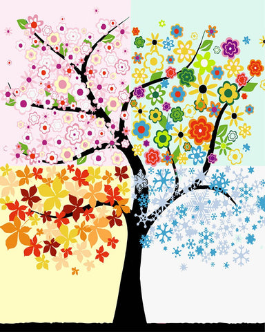 $15.20- Colorful Tree Painting By Numbers Modern Diy Landscap Digital Wall Art Picture Coloring By Numbers For Home Wall Artwork Gift