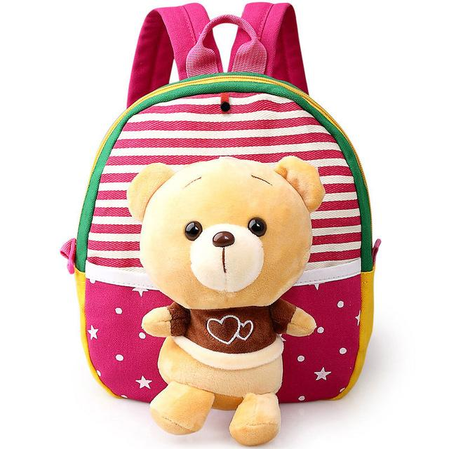 $15.09- Baby Children 3D Cartoon Bear Character Canvas School Bags For Kids Gifts Animal Toys Shoulder School Rucksack Backpacks