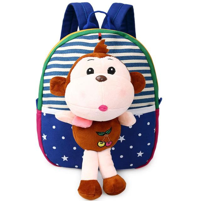 $15.07- Baby Children 3D Cartoon Bear Character Canvas School Bags For Kids Gifts Animal Toys Shoulder School Rucksack Backpacks