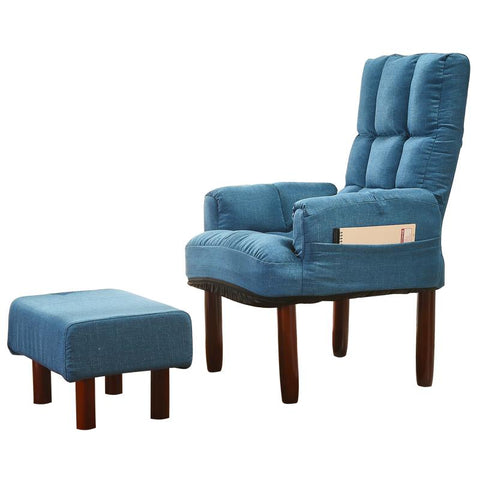 $311.93- Fabric Upholstered Occasional Armchair&Ottoman Recliner Chair Backrest Reclining Living Room Modern Accent Armchair&Footstool