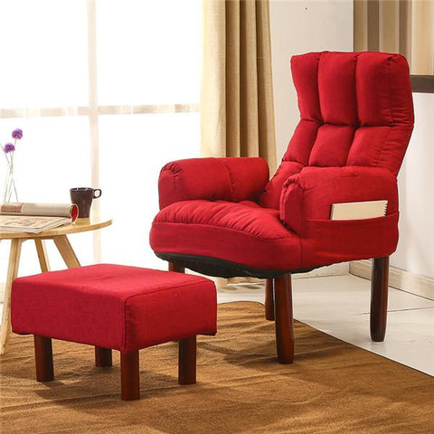 Fabric Upholstered Occasional Armchair&Ottoman Recliner Chair Backrest Reclining Living Room Modern Accent Armchair&Footstool
