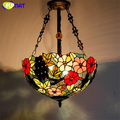 $389.37- Stained Glass Pendant Lamp Antique 16 Suspension Lights Living Room Glass Dragonfly Flower Baroque Kitchen Pendant Lights