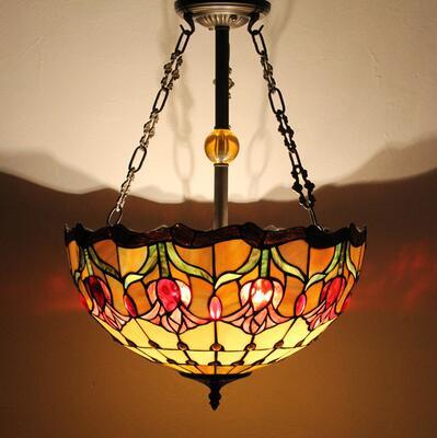 Stained Glass Pendant Lamp Antique 16 Suspension Lights Living Room Glass Dragonfly Flower Baroque Kitchen Pendant Lights