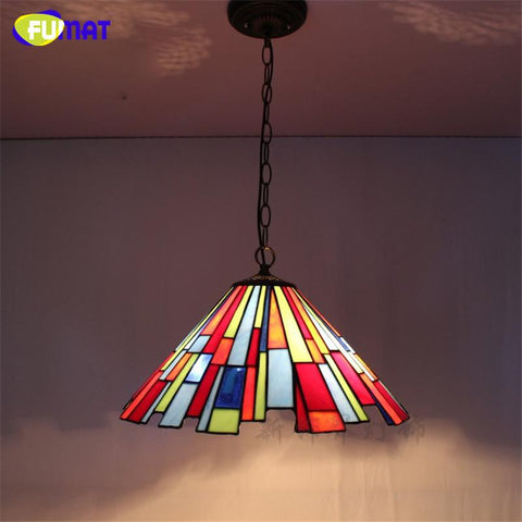 $213.49- Stained Glass Pendant Lights Mosaic Glass Lightings For Bedroom Living Room Dining Kitchen Creative Art Light Fixtures Led
