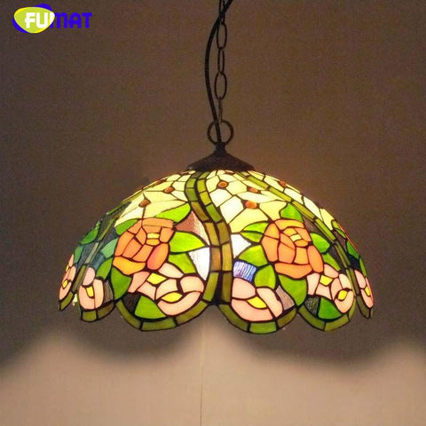 $298.86- Glass Chandeliers Restaurant Bar Bedroom European Pastoral Flowers Creative Art Lighting Stained Glass Light Fixtures