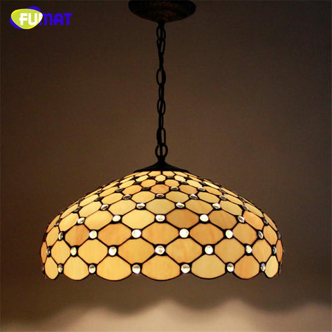 $458.30- Stained Glass Pendant Lamp Big Lampshade Light European Style Suspension Light Restaurant Lamp Hotel Lights Fixtures