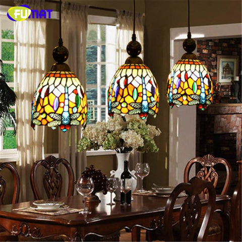 Stained Glass Pendant Lamp Art Vintage Dragonfly Glass Shade Lamp Led Restaurant Kitchen Dining Room Glass Pendant Lights
