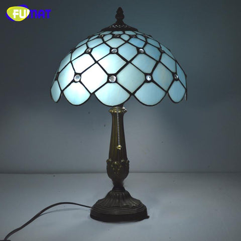 $338.58- Stained Glass Table Lamp Tiffany Mediterranean Sea Beads Glass Bedside Lamp Led Warm Lights For Living Room Table Lights