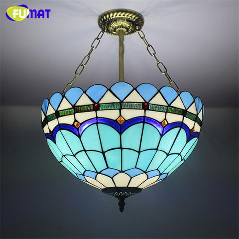 $281.79- Stained Glass Chandelier Brief Glass Art Lamp Living Room Bar MediterraneanStyle Decorative Blue Baroque Light Fixtures