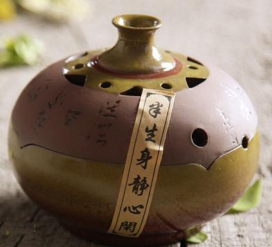 $78.32- Chinese Pottery Incense W/ Sandalwood Furnace Ceramic Tower Stick Coil Handmade Incense Burner Plate Aromatherapy Censer