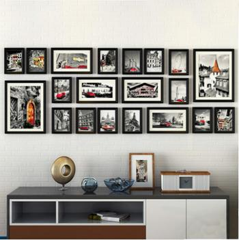 $338.30- 20Pcs/Set European Vintage Style Collage Picture Frame Pure Black&Brown Wooden Photo Frame Set Record Love Family Frame Set Wall