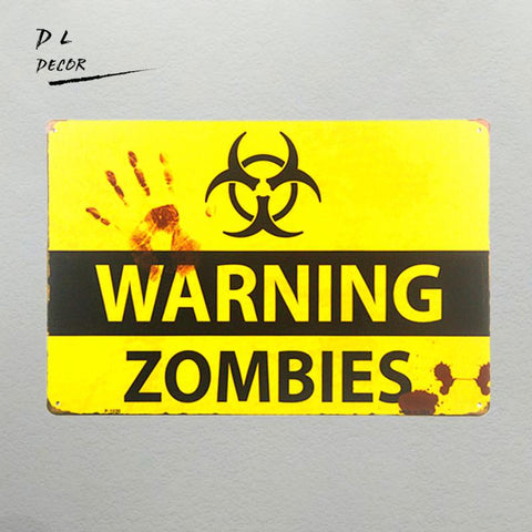 Dlshabby Chic Retro Zombie Warning Metal Signs Garage Wall Sticker Home Decor Outdoor Poster Prints Pub Bar Wall Plaque