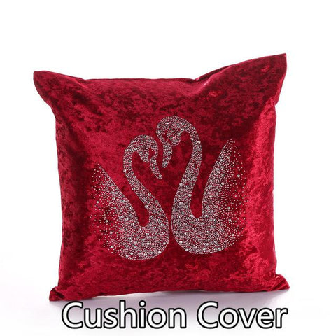 $15.68- Fashion Top Quality Luxury Thick Velvet Fabric Pretty Swan Hot Drilling Decorative Pillows Cushion Home Decor For Sofa Hotel Bed