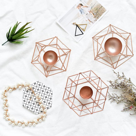 $41.76- Nordic Tealight Candle Holder Europe Rose Gold Candlestick Metal Modern Candle Stand Home Wedding Accessories Decor Candle Stand