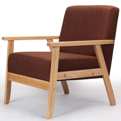 Wooden Lowseat Armchairs Sofa Fabric Upholstery Seat&Back Living Room Furniture Sofa Leisure Arm Chair Single Couch Wood Legs