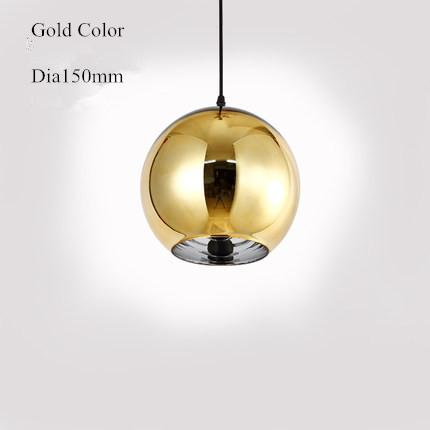 $38.23- Globe Copper Color Glass Mirror Ball Pendant Light Electroplate Hanging Lamp Lighting Fixture for KTV Dining Room Bar Restaurant