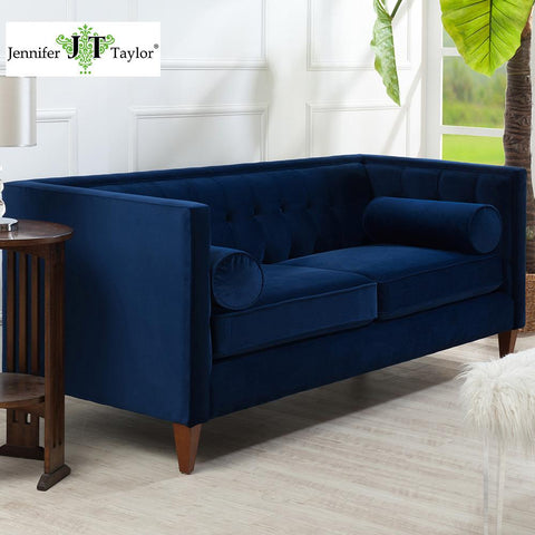 $928.00- American Living Room Furniture 84W X 33D X 31 1/2H Navy Blue Velvet Fabric Tufted Sofa From Jennifer Taylor