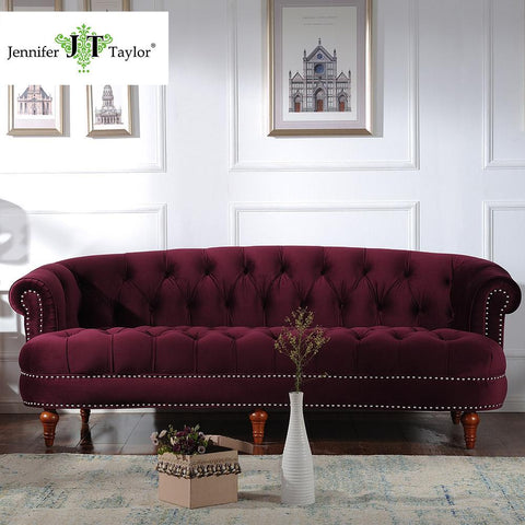 $1264.00- Jennifer Taylor Living Room Furniture La Rosa Tawny Port Sofa85W X 40D X 32H
