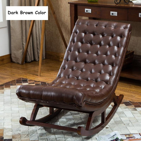 $490.36- Modern Design Rocking Lounge Chair For Living Room Bedroom Furniture Rocker Chair W/Leather Cushion Wood Comfortable Relax Chair