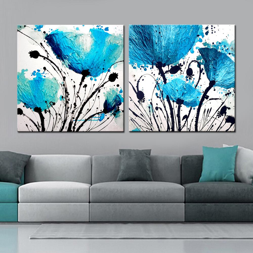 $10.38- 2 Panel Modern Bule Flower Abstract Print Frameless Canvas Art Oil Painting Home Decoration Modular Picture For Living Room Wall