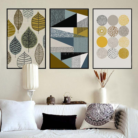 $9.64- Abstract Geometric Canvas Paintings Nordic Scandinavian Posters Prints Wall Art Oil Pictures For Living Room Home Decor Unframed