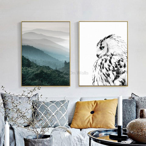 $8.22- 2 Panel Landscape Poster Owl Print Scandinavian Canvas Painting Nordic Art Wall Picture For Living Room Modern Home Decor